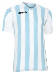 camiseta copa rayada joma celeste blanca